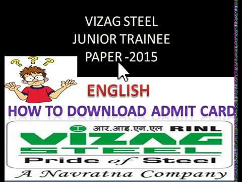 VIZAG STEEL Junior Trainee paper 2015 /How To Download Admit Card