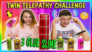 3 COLORS OF SLIME TWIN TELEPATHY CHALLENGE | Who says cheaters never win? | We Are The Davises
