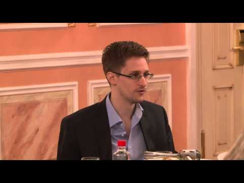 Edward Snowden speaks about NSA programmes at Sam Adams award presentation in Moscow