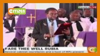 Sammy Luion pays tribute to Charles Rubia on behalf of Edith Matiba and family