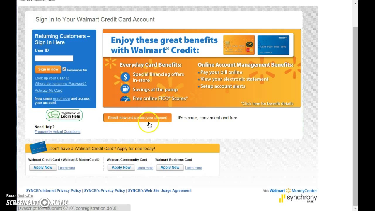 How to pay my walmart credit card bill online