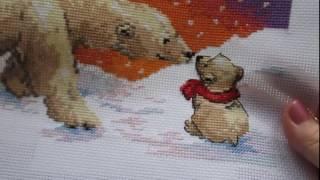 "Вышивка крестом Алиса ""Белые медведи"" готова)"