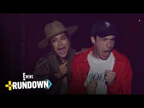 Dylan Minnette & E!'s Erin Lim Freak at Knott's Scary Farm  E!