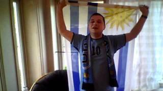 Crazy faroese Uruguay football supporter