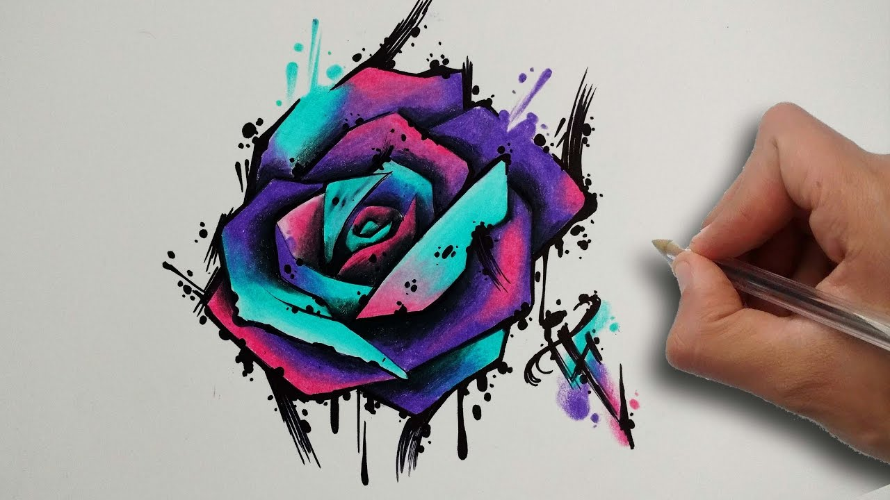 Diseño Rosa Estilo Acuarela Rose Aquarelle Style Nosfe Ink