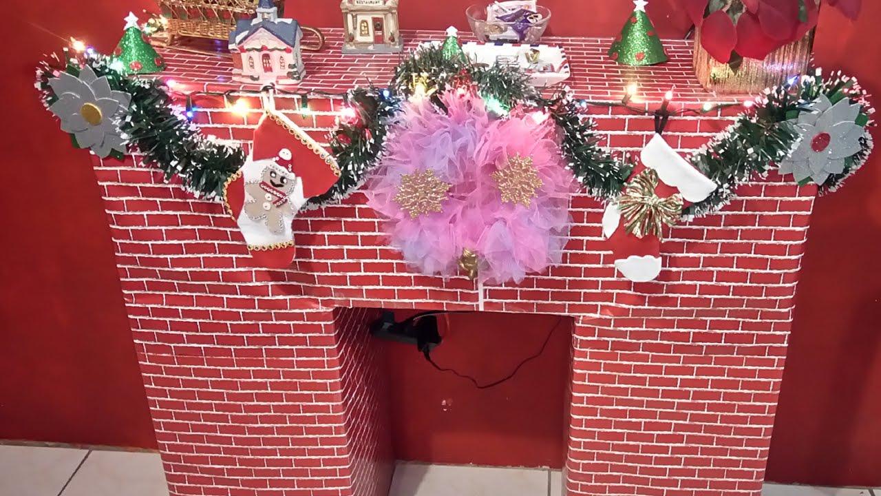 Diy chimenea navide a con cajas de carton quitzia for Adornos de navidad con carton