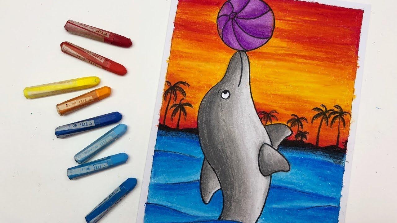 Cara Tutorial Mewarnai Dan Menggambar Lumba Lumba Dengan Pemandangan Laut
