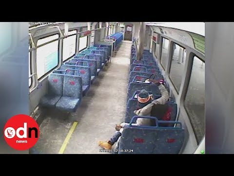 Extraordinary CCTV footage of man leaving baby on train