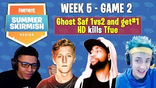 Game 2 Fortnite Summer Skirmish Week 5! Ghost Saf 1vs2 and get a win, HD kills Tfue