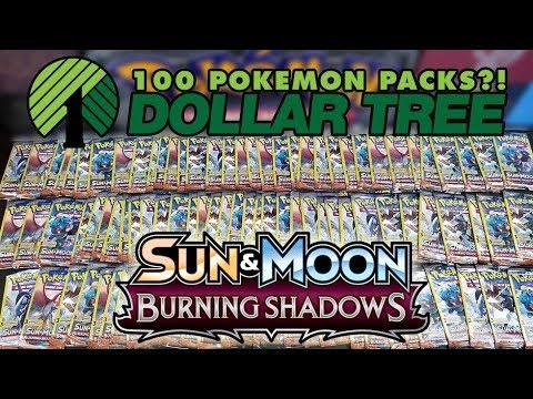 OPENING 100 PACKS OF BURNING SHADOWS DOLLAR TREE POKEMON CARDS!!