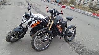 Запрещенные эксперименты! Мощный электровелосипед? Электрический велосипед 6000вт vs KTM Duke 200сс