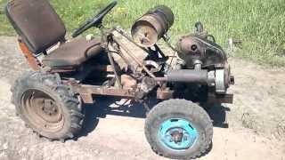 самодельный трактор, мотор от ижа+инвалидка