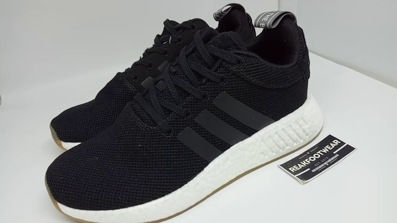 ca9fbc3e273a4 Adidas nmd R2 core black white gum - YouTube