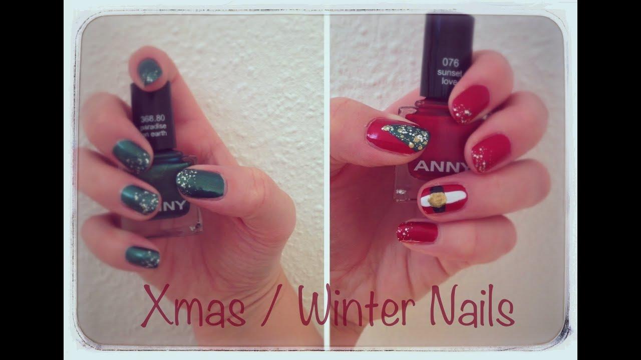 Xmas/ Winter Nails - einfaches Nageldesign für die Weihnachtszeit ...