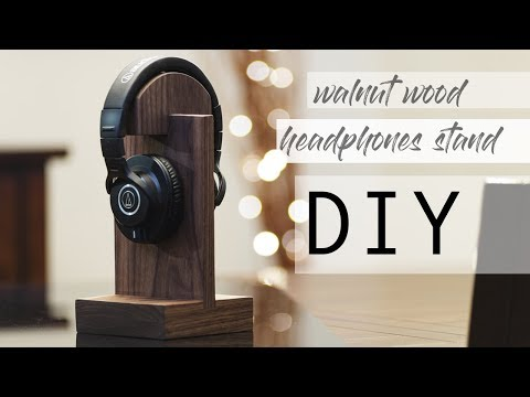 DIY walnut wood headphones stand