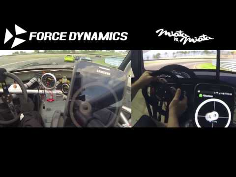 Miata vs. Miata - Force Dynamics 401cr racing simulator vs. reality accelerometer comparison