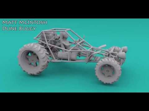 Dune buggy 3D model made with Silo and Z-brush