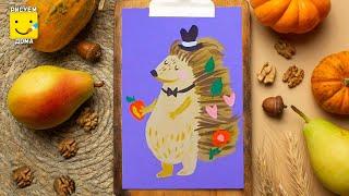 Как нарисовать ежика - урок рисования для детей от 4 лет, гуашь,  рисуем дома поэтапно