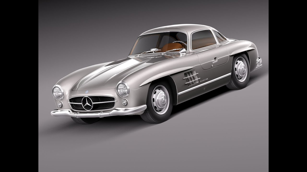 3d model mercedes benz 300 sl gullwing w198 1954 1957 youtube. Black Bedroom Furniture Sets. Home Design Ideas