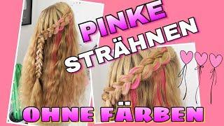 PINKE STRÄHNEN ohne Färben farbige Extensions coole Mädchen Zöpfe&Frisuren