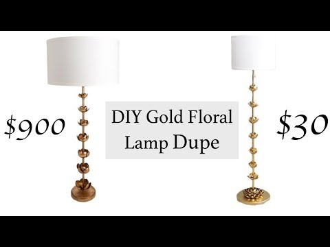 DIY Gold Floral Floor Lamp Dupe | Aziza Mohammad