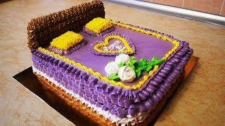 Торт КРОВАТЬ на ЮБИЛЕЙ украшение тортов в домашних условиях