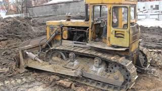 "Old soviet dozer tractor T-170 pushin"" dirt"