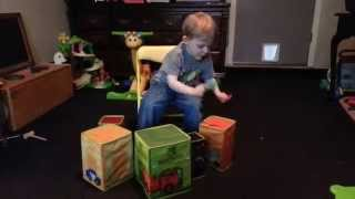 Toddler plays drums, sings Light Em Up, by Fall Out Boy