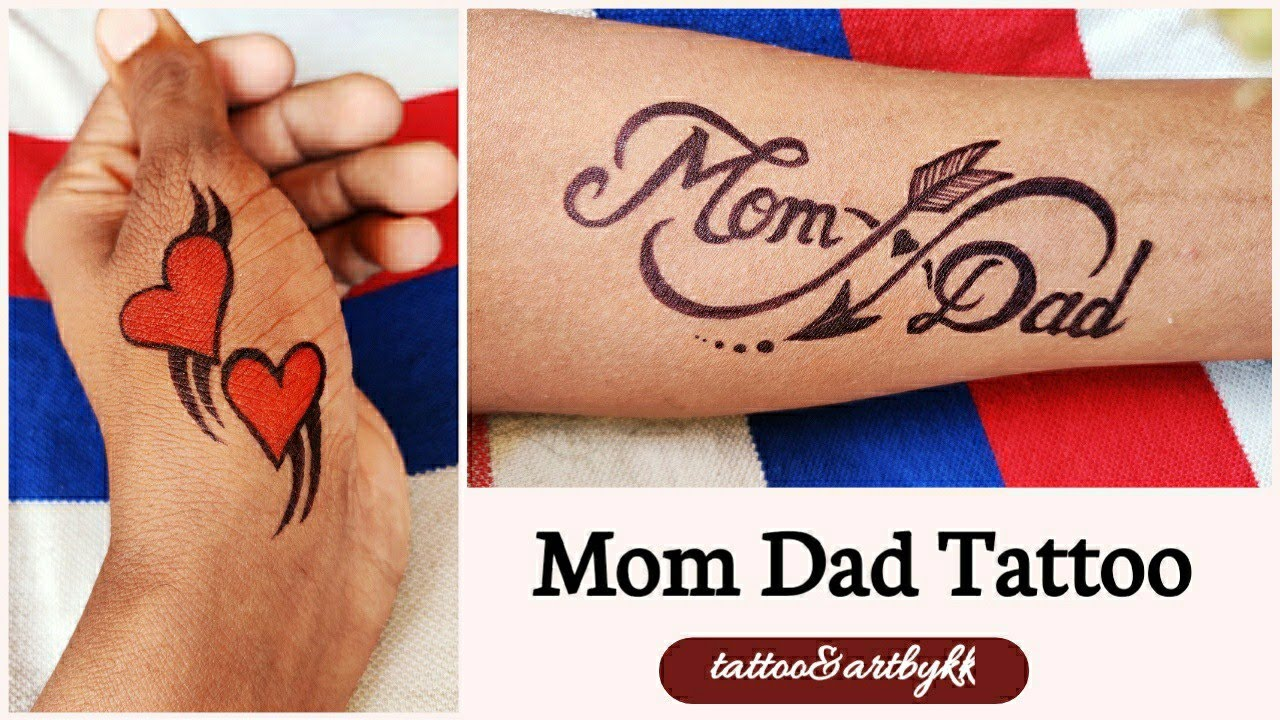 How to make tattoo of mom dad at home with black marker