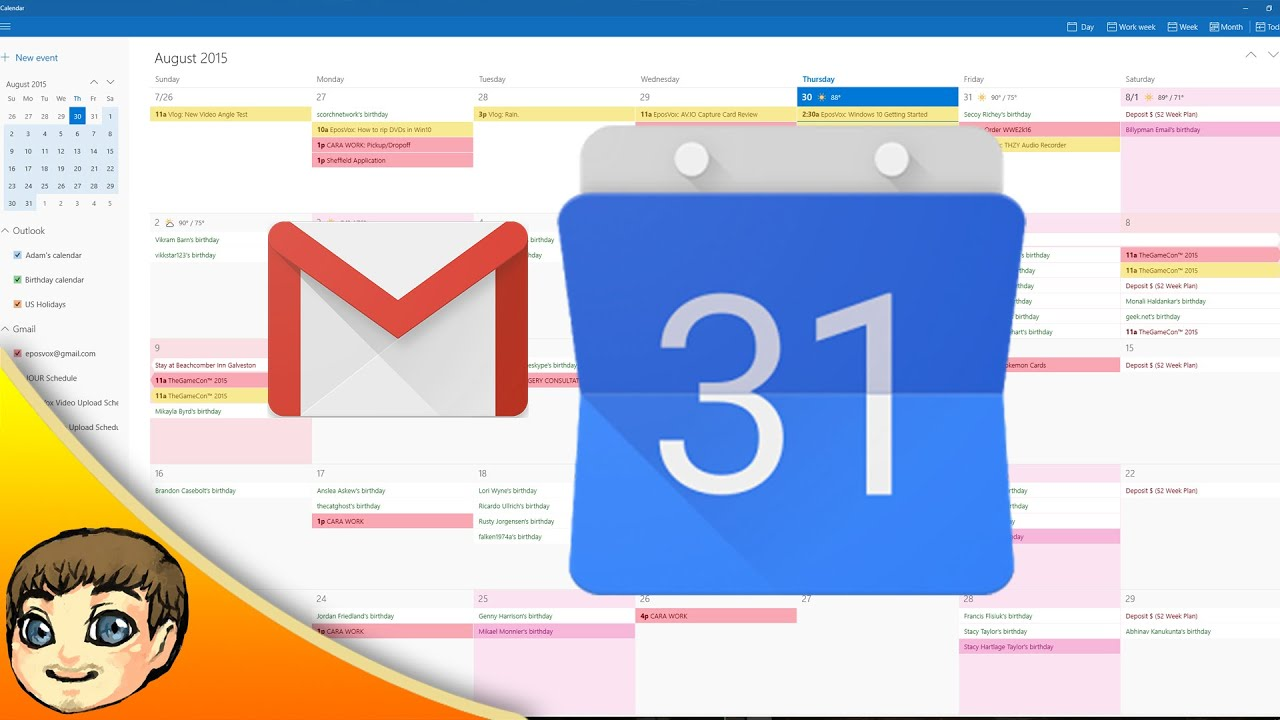 Google Calendar & GMail Integration w/ Windows 10 | Windows 10 ...