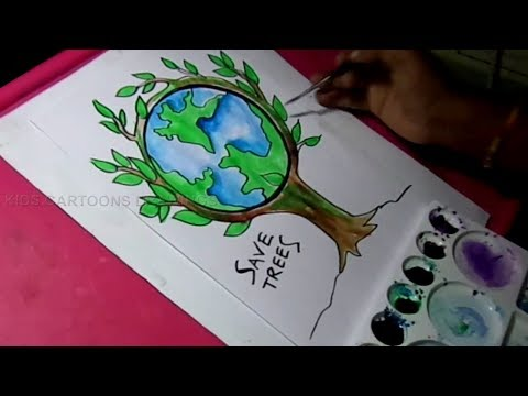 How To Draw Save Trees And Save Nature Color Drawing Youtube