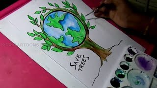 How to Draw Save Trees and Save Nature Color Drawing for Kids