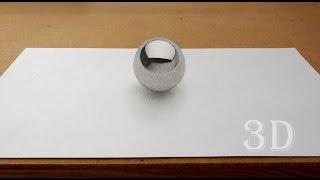 3д рисунок шара на бумаге / 3D drawing of ball(3д рисунок шара на бумаге. В этом видео показан процесс рисования карандашом простого 3д рисунка. Он не сложн..., 2015-06-24T15:50:35.000Z)