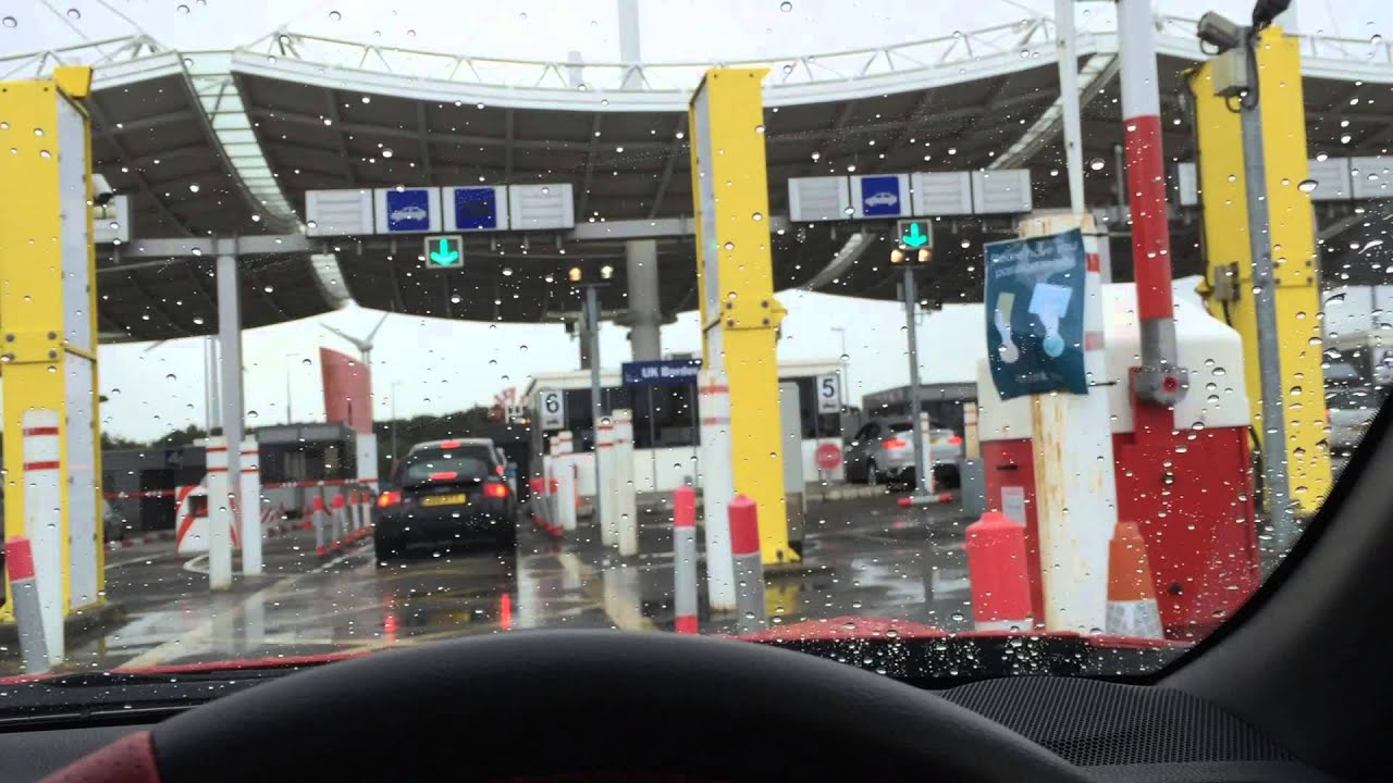 Dover Calais Tunnel >> Passing the UK Border Control booth at Eurotunnel Calais France - YouTube