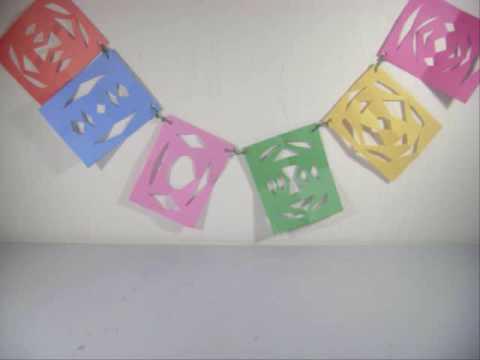 Como hacer un banderin con papel de colores - Como hacer cadenetas de papel para fiestas ...