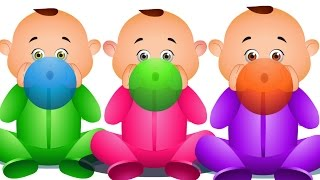 five Little Babies Blowing Balloons | Learn Colors With Balloons | Nursery Rhymes For Children
