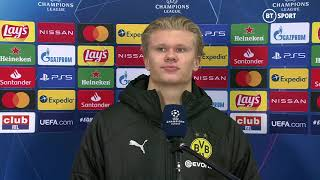 """You sleeping lonely tonight?"" Seriously awkward Erling Haaland interview after Brugge 0-3 Dortmund"