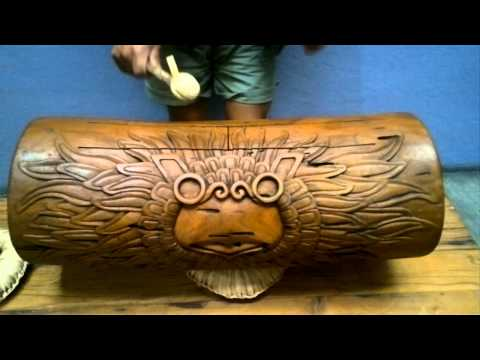 XXL Owl Teponaztli Drum - Sound of XXL Mexican Aztec Mesquite Wood Teponaztli Drum