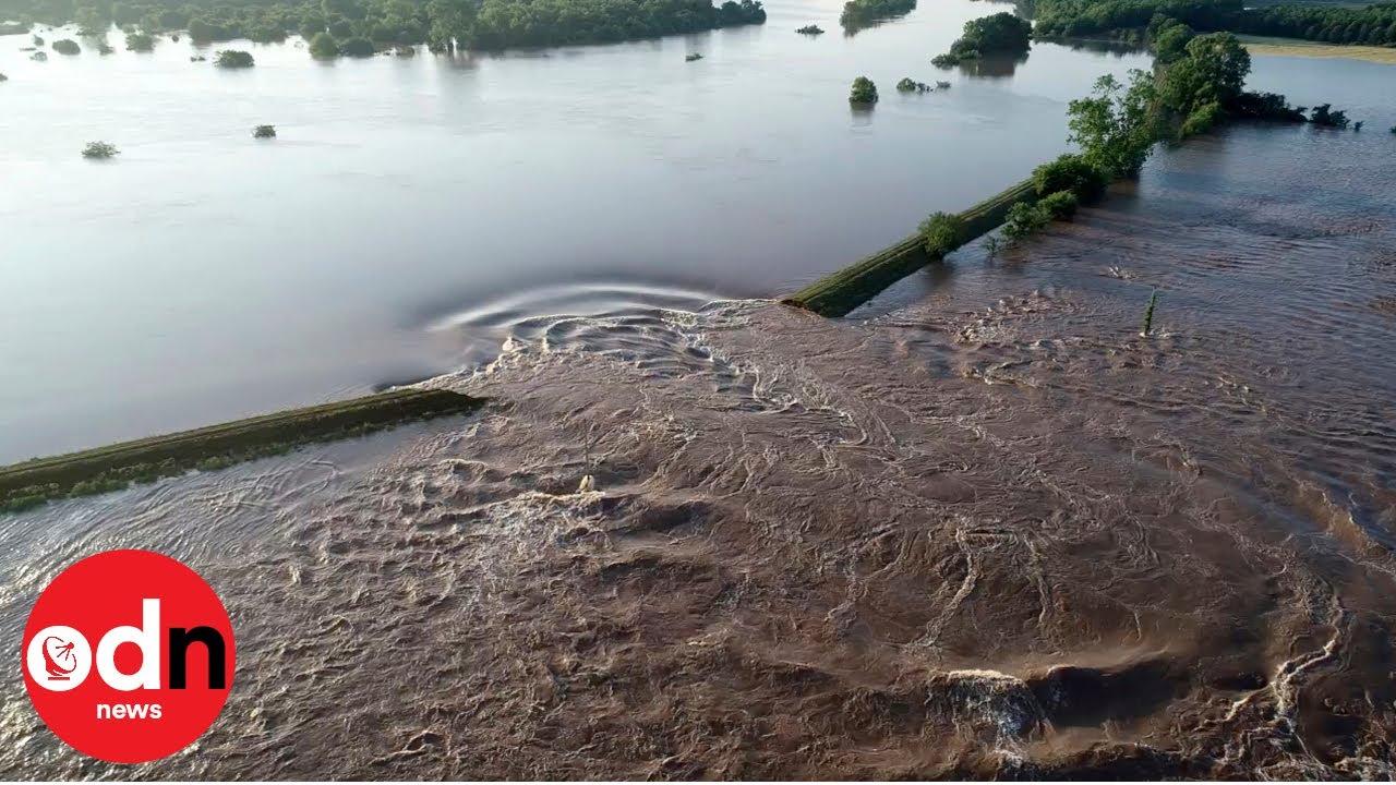 Aerial view of flooding as levee breaks in Arkansas