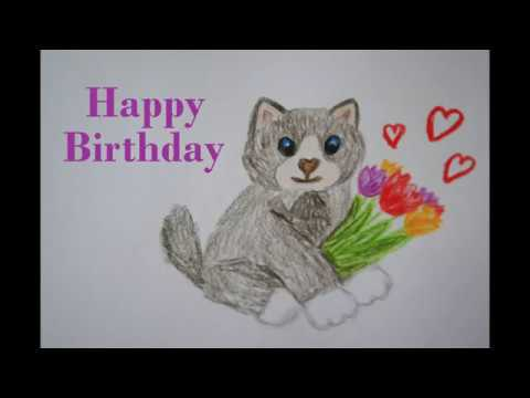 Katze Zeichnen Zum Geburtstag Malen Happy Birthday Drawing