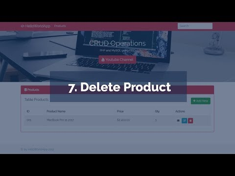 7. Delete Product (CRUD Operations in PHP and MySQL using PDO)