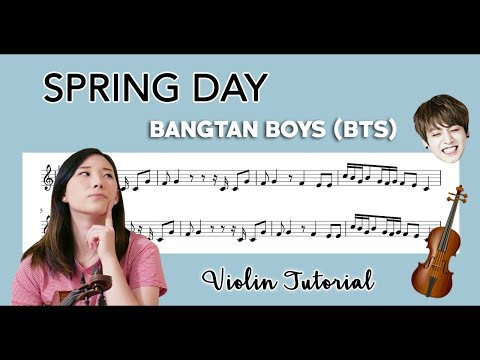 """Spring Day"" - BTS (방탄소년단) EASY VIOLIN TUTORIAL (w/Sheet Music)"