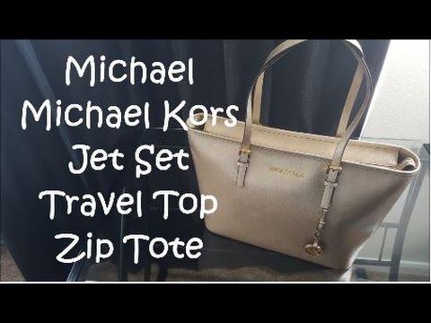 7676be0d19a5 Michael Kors Jet Set Travel Top Zip Tote - Pale Gold | Bag Review ...