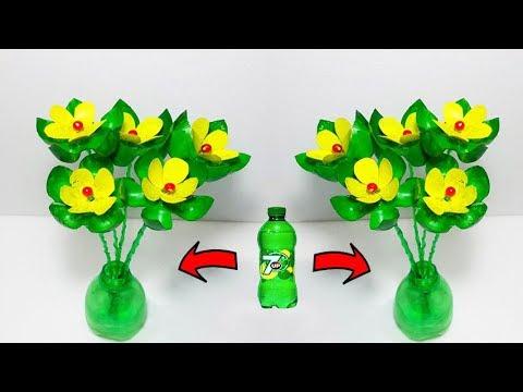 Empty Plastic bottle vase making craft # Water bottle Recycle flower vase art craft idea