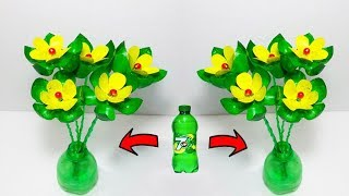 Empty Plastic bottle vase making craft # Water bottle Recycle flower vase art craft idea