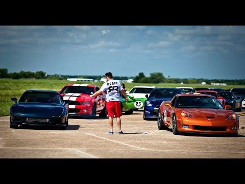 Huge Turbo RX7 Dominates Corvettes!