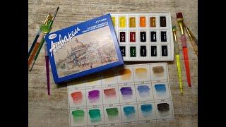 watercolor GAMMA Распаковка и обзор акварели 'Гамма