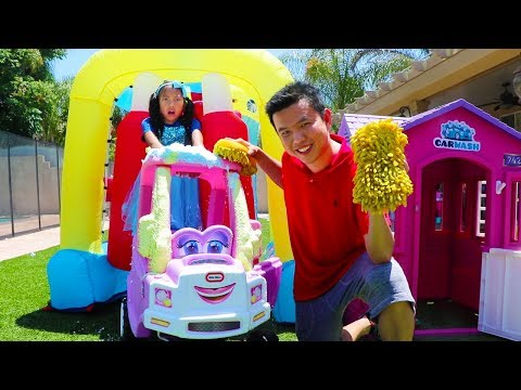 Wendy Pretend Play w/ Giant Inflatable Drive Thru Car Wash Kids Toy