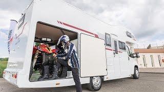 Автодом с огромным гаражом для перевозки квадроциклов и негабаритных грузов. Roller Team Kronos 290M