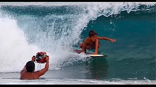 View from 3 and a half feet, 6 year old surfer Kai Kai Alcala